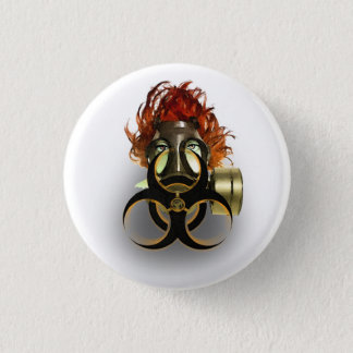 </biohazard> badge pinback button