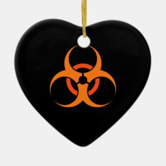 Biohazard biological hazard symbol orange ceramic ornament