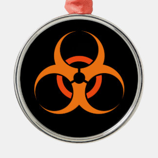 Biohazard biological hazard symbol orange metal ornament