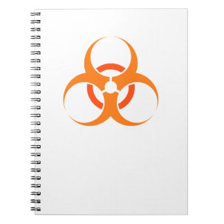 Biohazard biological hazard symbol orange notebook