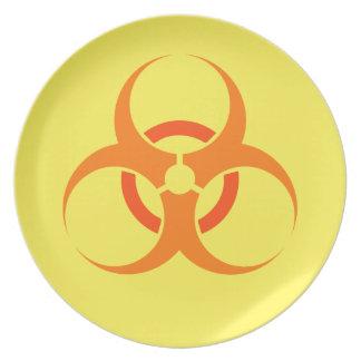 Biohazard biological hazard symbol orange plate