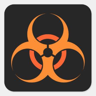 Biohazard biological hazard symbol orange square sticker