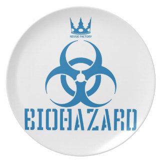BIOHAZARD blue Dinner Plates