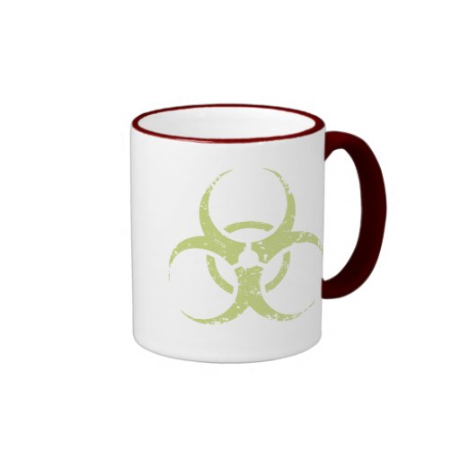 Biohazard - dist - verde taza de dos colores