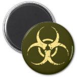 Biohazard -dist -yellow 2 inch round magnet