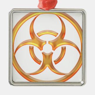 Biohazard Gold Square Metal Christmas Ornament