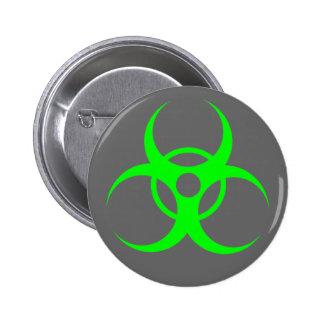 Biohazard Green on Grey Button