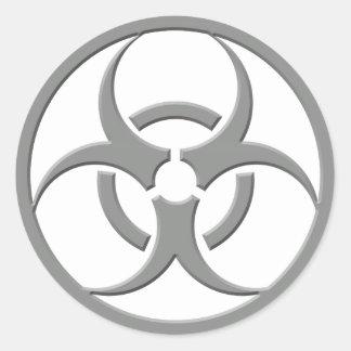 Biohazard Grey Classic Round Sticker