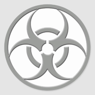 Biohazard Grey Round Stickers