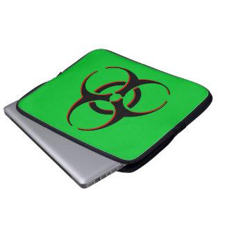 Biohazard Laptop Sleeve - Black, Red, Green.