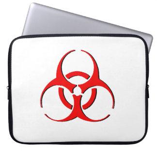 Biohazard Laptop Sleeve - Red on Black