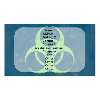 Biohazard Lime Green Blue Background Business Card