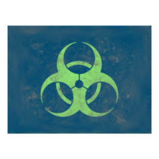 Biohazard Lime Green Blue Background Poster