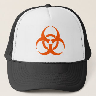 biohazard orange trucker hat