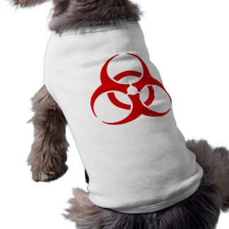 ¡biohazard! peligro amonestador playera sin mangas para perro