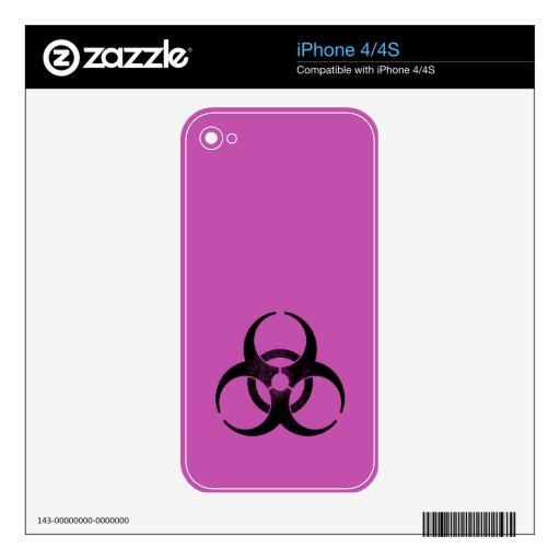 Biohazard púrpura y negro apenado iPhone 4S calcomanías