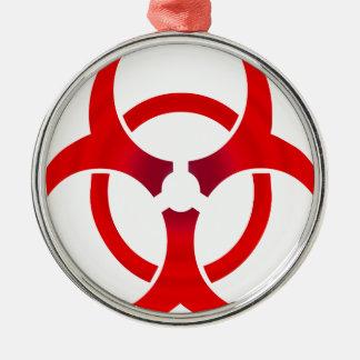 Biohazard - RED Metal Ornament