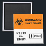 """Biohazard Sterile Dishwasher Magnet<br><div class=""""desc"""">Magnet to tell you and others whether the dishes inside are dirty (biohazard waste!) or clean (sterile).  Perfect for biology,  medicine,  chemistry,  and other science geeks.</div>"""