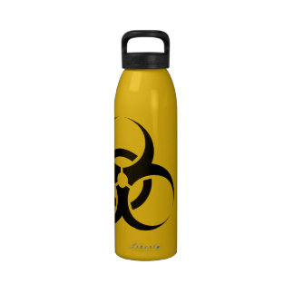 Biohazard Symbol, Drink at Your Own Risk Water Reusable Water Bottles