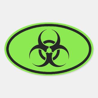 Biohazard Symbol Green oval car stickers