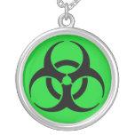 Biohazard Symbol Round Pendant Necklace