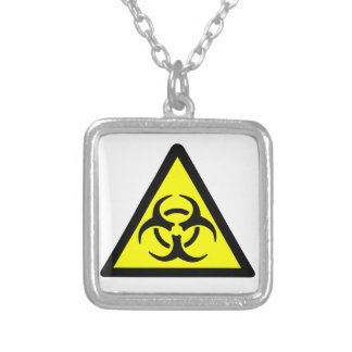 Biohazard Symbol Silver Plated Necklace