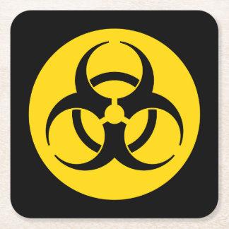 Biohazard Symbol Square Paper Coaster