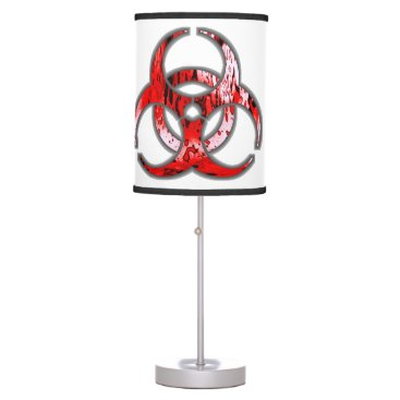 FlowstoneGraphics Biohazard Symbol Zombie Blood Apocalypse Table Lamp