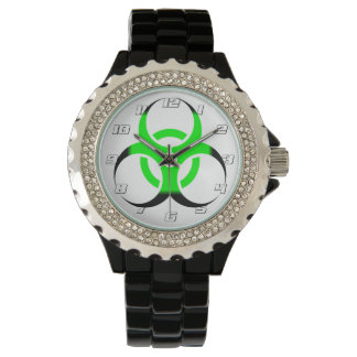 Biohazard Symbol Zombie Green and Black numbers Watch