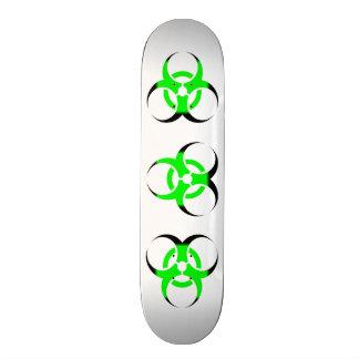 Biohazard Symbol Zombie Green and Black on white Skateboard