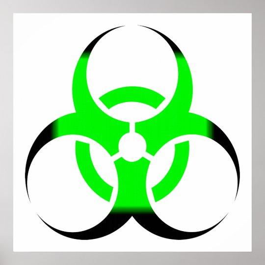 Biohazard Symbol Zombie Green and Black Poster