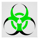 Biohazard Symbol Zombie Green and Black Posters