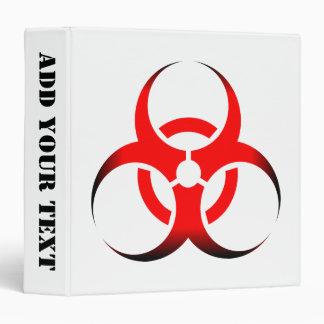 Biohazard Symbol Zombie red black 3 Ring Binder