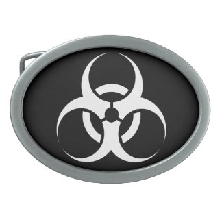 Biohazard Symbol Zombie White and Black Belt Buckle