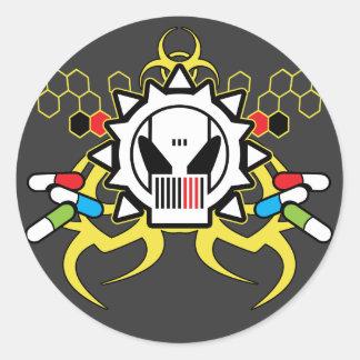Biohazard Tech Skull Classic Round Sticker