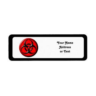 BioHazard Toxic - Red Return Address Label