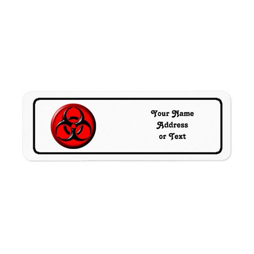 BioHazard Toxic - Red Return Address Labels