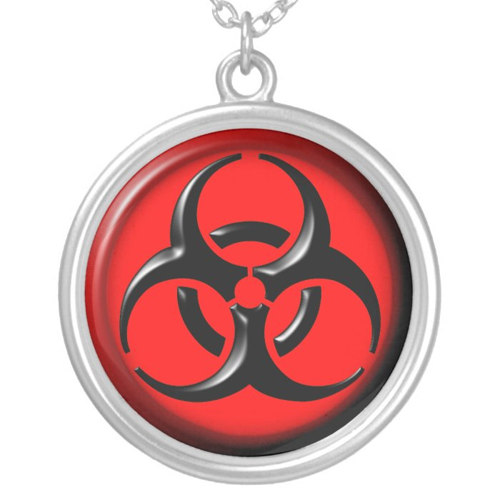 BioHazard Toxic - Red Silver Plated Necklace