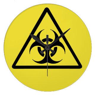 Biohazard - university chrome black large clock
