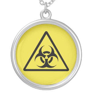 Biohazard - university chrome black silver plated necklace