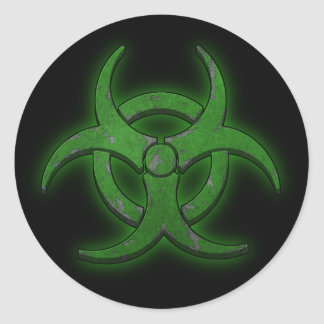 Biohazard verde pegatina redonda