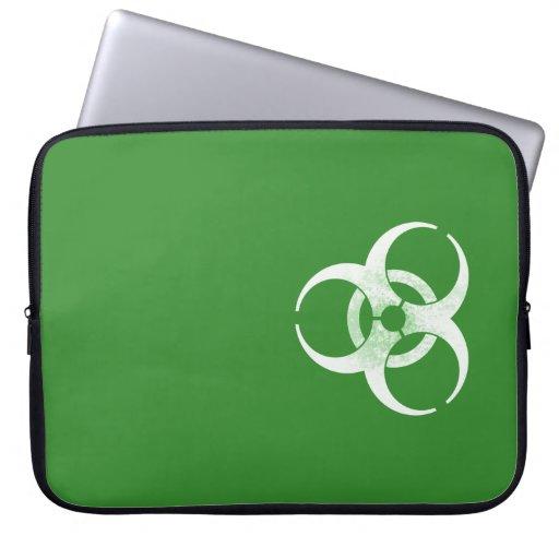 Biohazard verde y blanco apenado fundas portátiles