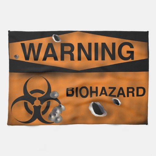 """Biohazard Warning Cloth Flag 16"""" x 24"""" Hand Towel"""