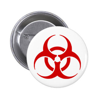 biohazard ! warning danger pinback button
