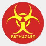 biohazard ! warning danger round stickers