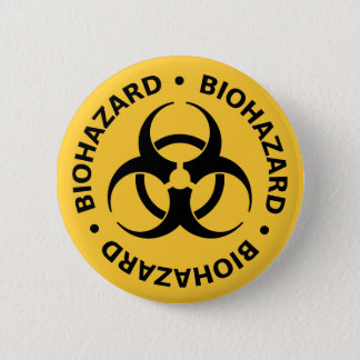 Biohazard Warning Pinback Button