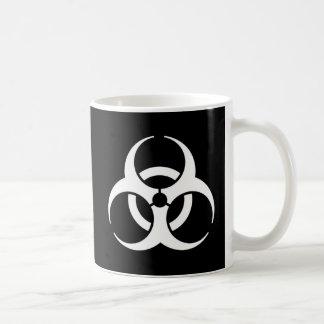 biohazard white on black coffee mug