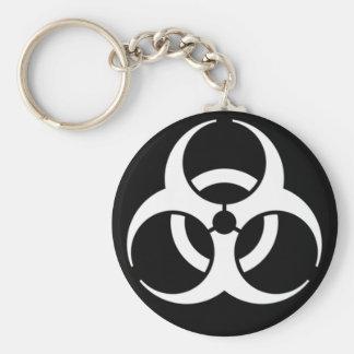 biohazard white on black keychain
