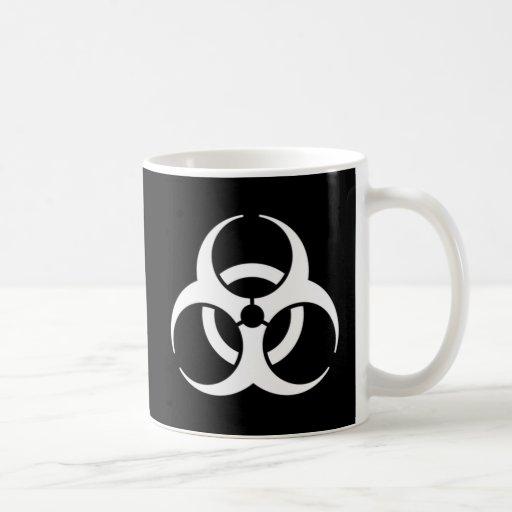 biohazard white on black mug