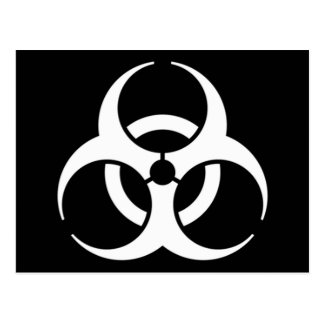 biohazard white on black postcard